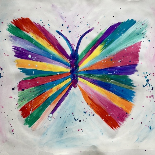 Multi-coloured butterfly painting