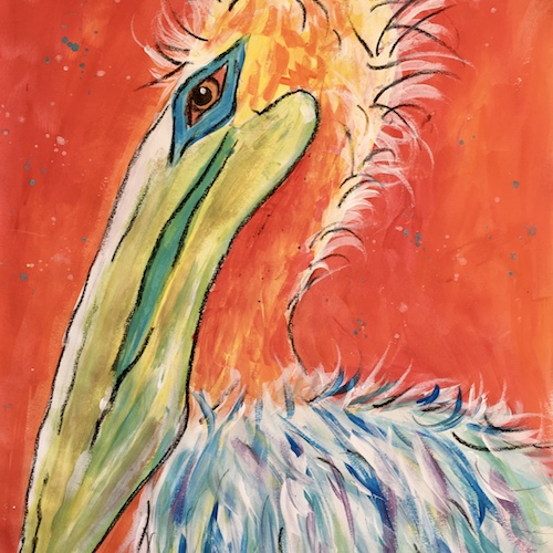 Colourful pelican painting