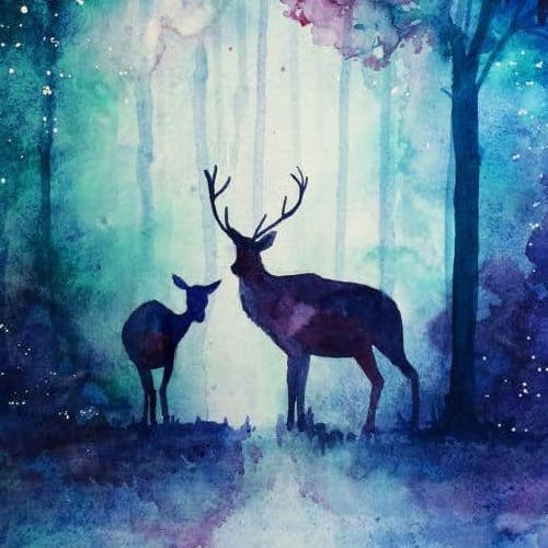 Nighttime painting of a stag